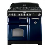 Rangemaster Classic Deluxe 90 Dual Fuel Regal Blue/Chrome Range Cooker 113530