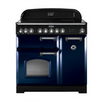 Rangemaster Classic Deluxe 90 Ceramic Regal Blue/Chrome Trim Range Cooker CDL90ECRB/C 114250