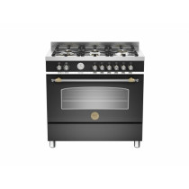 Bertazzoni Heritage 90 Single Oven Dual Fuel Matt Black Range Cooker HER90-6-MFE-S-NET