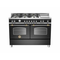 Bertazzoni Heritage 120 Double Oven Dual Fuel Black Range Cooker HER120-6G-MFE-D-NET