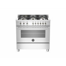 Bertazzoni Professional 90 Single Oven Dual Energy Stainless Steel Range Cooker PRO90-6-HYB-S-XT