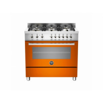 Bertazzoni Professional 90 Single Oven Dual Energy Orange Range Cooker PRO90-6-HYB-S-ART