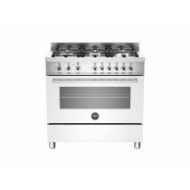 Bertazzoni Professional 90 Single Oven Dual Energy White Range Cooker PRO90-6-HYB-S-BIT