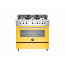 Bertazzoni Professional 90 Single Oven Dual Energy Yellow Range Cooker PRO90-6-HYB-S-GIT