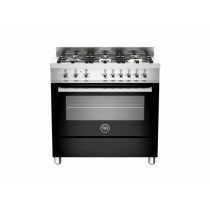 Bertazzoni Professional 90 Single Oven Dual Energy Black Range Cooker PRO90-6-HYB-S-NET