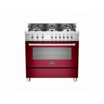 Bertazzoni Professional 90 Single Oven Dual Energy Burgundy Range Cooker PRO90-6-HYB-S-VIT