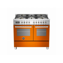 Bertazzoni Professional 100 Double Oven Dual Fuel Orange Range Cooker PRO100-6-MFE-D-ART