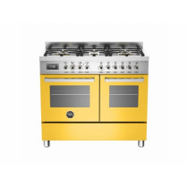 Bertazzoni Professional 100 Double Oven Dual Fuel Yellow Range Cooker PRO100-6-MFE-D-GIT