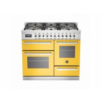 Bertazzoni Professional 100 Triple Cavity Dual Fuel Yellow Range Cooker PRO100-6-MFE-T-GIT