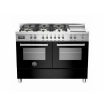 Bertazzoni Professional 120 Double Oven Dual Fuel Black Range Cooker PRO120-6G-MFE-D-NET