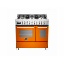 Bertazzoni Professional 90 Double Oven Dual Fuel Orange Range Cooker PRO90-6-MFE-D-ART