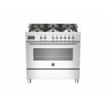 Bertazzoni Professional 90 Single Oven Dual Fuel Stainless Steel Range Cooker PRO90-6-MFE-S-XT