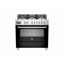 Bertazzoni Professional 90 Single Oven Dual Fuel Black Range Cooker PRO90-6-MFE-S-NET