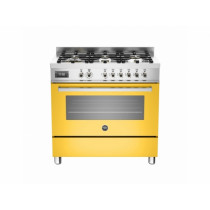 Bertazzoni Professional 90 Single Oven Dual Fuel Yellow Range Cooker PRO90-6-MFE-S-GIT