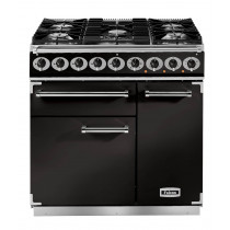 Falcon Deluxe 900 Dual Fuel Black/Chrome Range Cooker with Matt Pan Supports