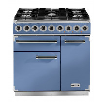 Falcon Deluxe 900 Dual Fuel China Blue/Nickel Range Cooker with Matt Pan Supports