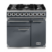 Falcon Deluxe 900 Dual Fuel Slate/Chrome Range Cooker with Matt Pan Supports