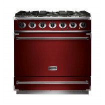Falcon 900S Dual Fuel Cherry Red Range Cooker with Matt Pan Supports