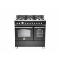 Bertazzoni Heritage 90 Double Oven Dual Fuel Matt Black Range Cooker HER90-6-MFE-D-NET
