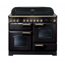 Rangemaster Classic Deluxe 110 Ceramic Range Cooker Black/Brass 81340