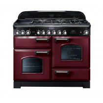 Rangemaster Classic Deluxe 110 Dual Fuel Range Cooker Cranberry/Chrome 84420