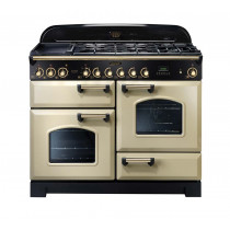 Rangemaster Classic Deluxe 110 Dual Fuel Range Cooker Cream/Brass 79810