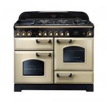 Rangemaster Classic Deluxe 110 Dual Fuel Range Cooker Cream/Brass Trim CDL110DFFCR/B 79810