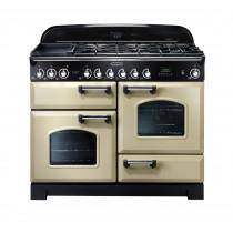 Rangemaster Classic Deluxe 110 Dual Fuel Range Cooker Cream/Chrome 79790