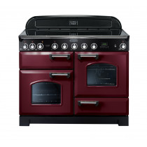 Rangemaster Classic Deluxe 110 Induction Range Cooker Cranberry/Chrome 90400