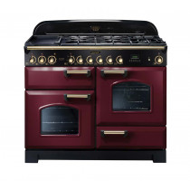 Rangemaster Classic Deluxe 110 Dual Fuel Range Cooker Cranberry/Brass Trim CDL110DFFCY/B 84430