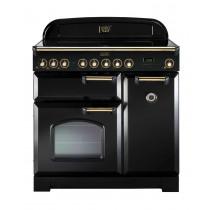 Rangemaster Classic Deluxe 90 Ceramic Black/Brass Range Cooker 81620