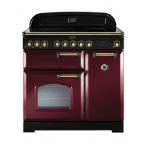 Rangemaster Classic Deluxe 90 Ceramic Cranberry/Brass Trim Range Cooker CDL90ECCY/B 84510
