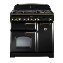 Rangemaster Classic Deluxe 90 Dual Fuel Black/Brass Range Cooker 80950