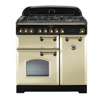 Rangemaster Classic Deluxe 90 Dual Fuel Cream/Brass Range Cooker 80960