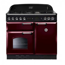Rangemaster Classic 100 Dual Fuel Cranberry/Chrome Range Cooker 10703