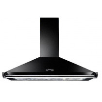 Rangemaster Classic 110cm Cooker Hood Black with Chrome Rail CLAHDC110BC/ 89280