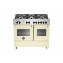 Bertazzoni Master 100 Double Oven Dual Fuel Matt Cream Range Cooker MAS100-6-MFE-D-CRE