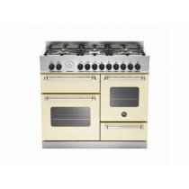 Bertazzoni Master 100 Triple Oven Dual Fuel Matt Cream Range Cooker MAS100-6-MFE-T-CRE