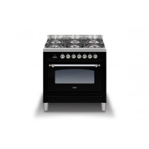 Ilve Milano 90 Twin Dual Fuel Black Range Cooker (Gas 4 burner and Fry top)