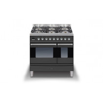 Ilve Moderna 90 Graphite Twin Dual Fuel 6 Burner Range Cooker