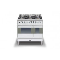 Ilve Moderna 90 Stainless Steel Twin Dual Fuel 6 Burner Range Cooker