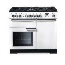 Rangemaster Professional Deluxe 100 Dual Fuel White Range Cooker PDL100DFFWH/C 98950