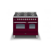 Ilve Milano 100 Twin Dual Fuel Burgundy Range Cooker