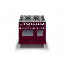Ilve Milano 90 Twin Dual Fuel Burgundy Range Cooker (Gas 4 burner and Fry top)