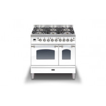 Ilve Milano 90 Twin Dual Fuel White Range Cooker (Gas 4 burner and Fry top)