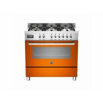 Bertazzoni Professional 90 Single Oven Dual Fuel Orange Range Cooker PRO90-6-MFE-S-ART