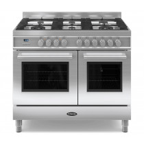 Britannia Q Line 100 Twin - 6 Dual Fuel Burners Stainless Steel Range Cooker