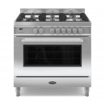 Britannia Q Line 90 Single - 6 Dual Fuel Burners Stainless Steel Range Cooker