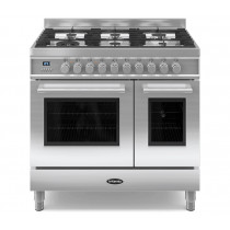 Britannia Q Line 90 Twin - 6 Dual Fuel Burners Stainless Steel Range Cooker