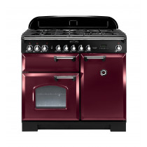 Rangemaster Classic Deluxe 100 Dual Fuel Cranberry/Chrome Trim Range Cooker CDL100DFFCY/C 92510